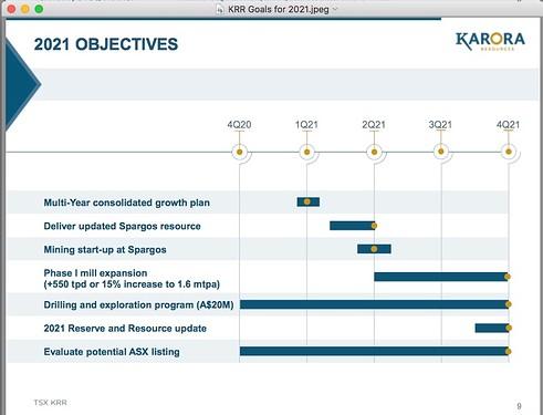 Karora Goals for 2021